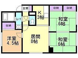 北海道札幌市東区北五十一条東5の賃貸アパートの間取り
