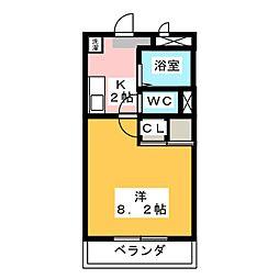 愛知県豊明市大久伝町南の賃貸マンションの間取り