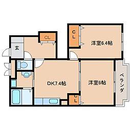 京都府木津川市相楽の賃貸アパートの間取り