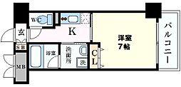 CASA京橋 1階1Kの間取り