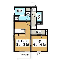 D−roomラルーチェ[1階]の間取り