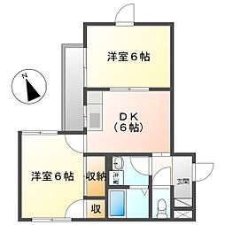 CASA新川崎 2階2DKの間取り
