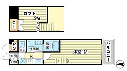 ベルフラワー山野井[203号室]の間取り