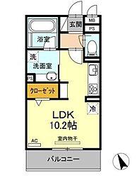 名古屋市営東山線 藤が丘駅 バス2分 井堀南下車 徒歩7分の賃貸アパート 3階ワンルームの間取り