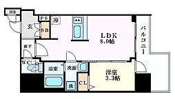 プレサンス北浜オリジン 7階1LDKの間取り