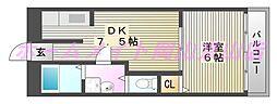 岡山県岡山市北区野田屋町2丁目の賃貸マンションの間取り