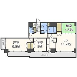 北海道札幌市中央区北三条西16丁目の賃貸マンションの間取り