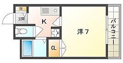 アーベントロート 4階1Kの間取り