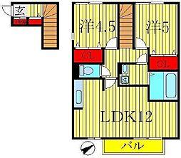 プラシデスB棟[2階]の間取り