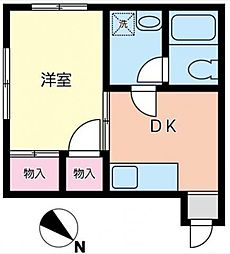 東京都板橋区成増4丁目の賃貸アパートの間取り