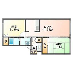 北海道札幌市北区篠路七条6の賃貸アパートの間取り