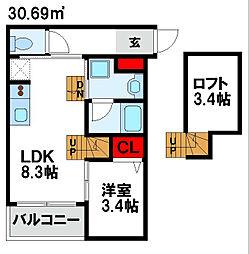 JR鹿児島本線 福間駅 徒歩13分の賃貸アパート 2階1LDKの間取り