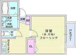 仙台市営南北線 愛宕橋駅 徒歩12分の賃貸アパート 2階1Kの間取り