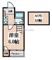 オーナーズマンション瓢箪山 3階1Kの間取り