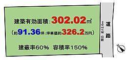 道路間口約12.6m、整形地、建蔽率60%。容積率150%