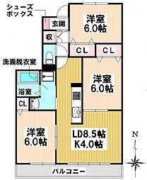 愛知県名古屋市瑞穂区平郷町3丁目の賃貸アパートの間取り