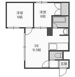 ビッグバーンズマンション八軒II[3階]の間取り