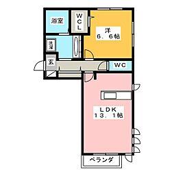 アンソレイエ自由ヶ丘[2階]の間取り