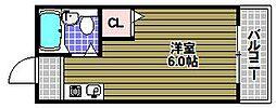 ユニコーン82'西野 2階ワンルームの間取り