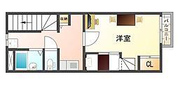 大阪府八尾市老原3丁目の賃貸アパートの間取り