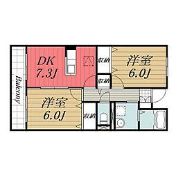 京成本線 公津の杜駅 徒歩9分の賃貸マンション 3階2DKの間取り
