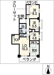 ウィン・コート白川[11階]の間取り