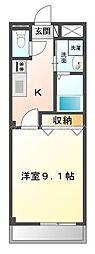 岡山電気軌道清輝橋線 清輝橋駅 徒歩19分の賃貸マンション 1階1Kの間取り