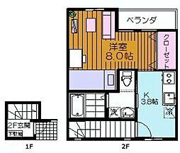 ラフィネY新河岸[201号室]の間取り