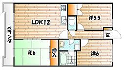 福岡県北九州市八幡西区陣原4丁目の賃貸マンションの間取り