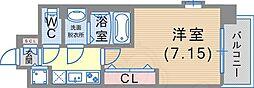 Luxe東灘 2階1Kの間取り