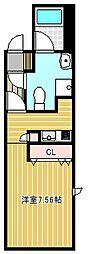 OIKOS東山 1階ワンルームの間取り