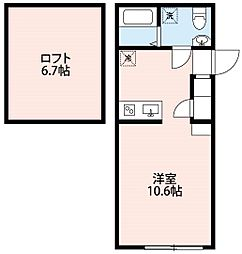 西武池袋線 飯能駅 徒歩10分の賃貸アパート 2階1Kの間取り