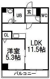 エステラ南3条館B[9階]の間取り