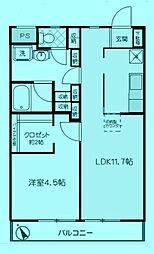 ハイツイチノA[1階]の間取り
