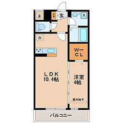 仙台市営南北線 北四番丁駅 徒歩10分の賃貸アパート 1階1LDKの間取り