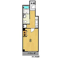 フラッティK&S千本寺之内 4階1Kの間取り