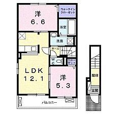 滋賀県湖南市柑子袋の賃貸アパートの間取り