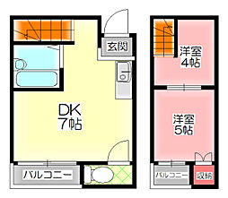 メイゾンII 2階2DKの間取り