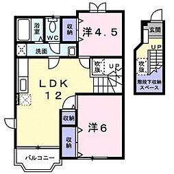 滋賀県栗東市野尻の賃貸アパートの間取り