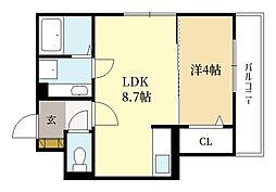 仮称)三山木中央新築ハイツ 2階1LDKの間取り