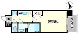 プレサンス大阪天満リバーシア 3階1Kの間取り
