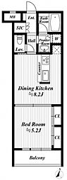 デュオ・スカーラ高輪 2階1DKの間取り