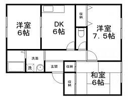 兵庫県姫路市広畑区蒲田1丁目の賃貸アパートの間取り