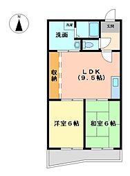 エーデル小賀須[3階]の間取り