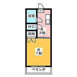 コーポユタカ[1階]の間取り