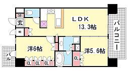 リーガル神戸三宮[4階]の間取り