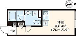 都営大江戸線 練馬駅 徒歩6分の賃貸マンション 3階ワンルームの間取り