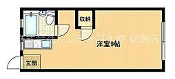 Osaka Metro谷町線 都島駅 徒歩2分の賃貸マンション 2階ワンルームの間取り