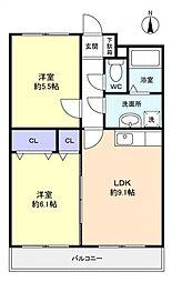 千葉県船橋市西習志野2丁目の賃貸マンションの間取り