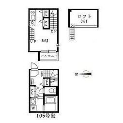 名古屋市営東山線 中村公園駅 徒歩5分の賃貸アパート 2階1SKの間取り